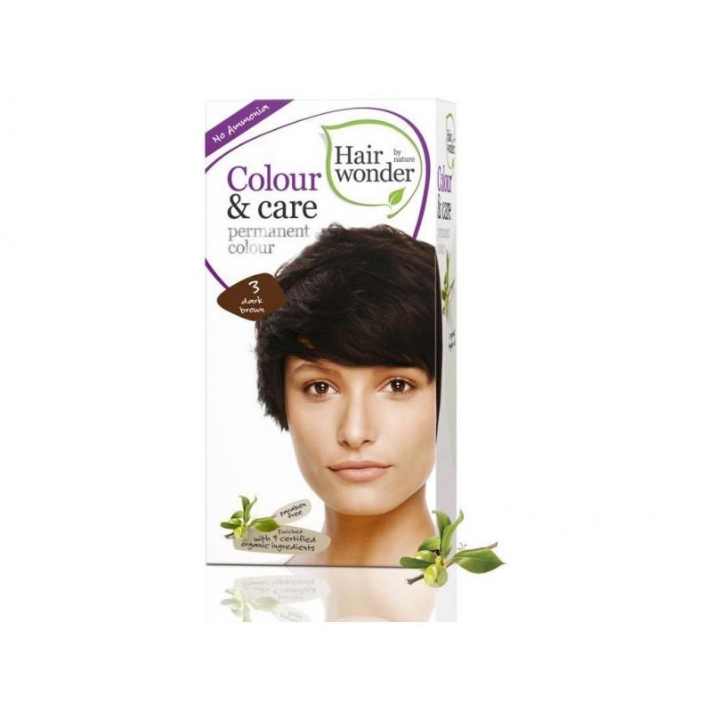 Přírodní dlouhotrvající barva Tmavá hnědá 3 Hair wonder - 100 ml