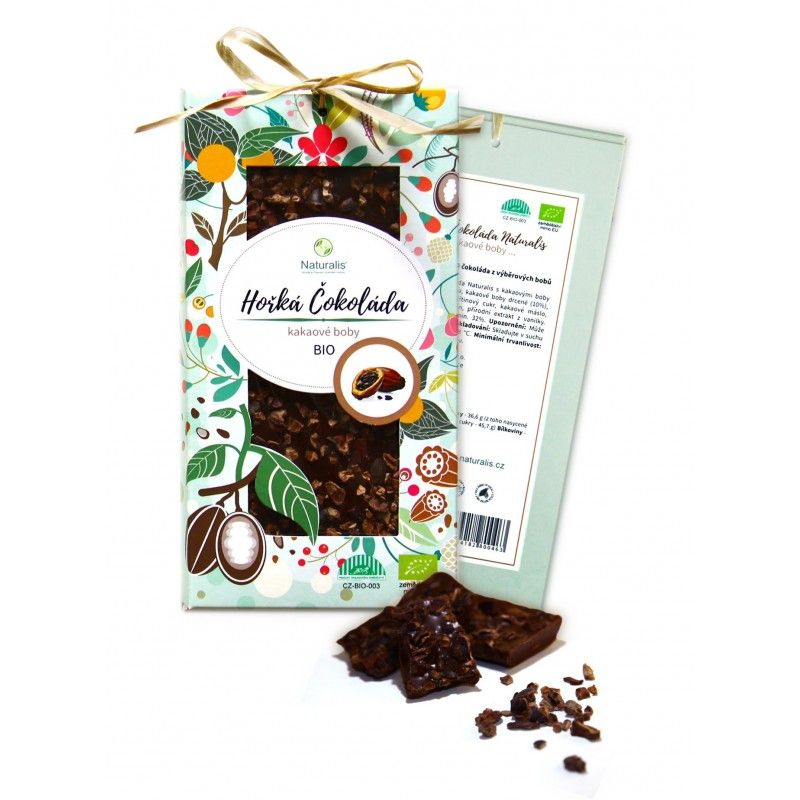 BIO Hořká Čokoláda Naturalis s kakaovými boby - 80g