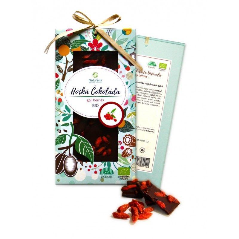 BIO Hořká Čokoláda Naturalis s goji berries - 80g