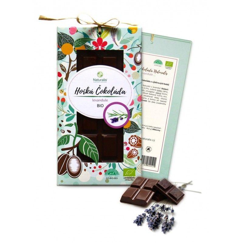 BIO Hořká Čokoláda Naturalis s levandulí - 80g