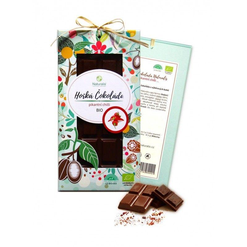 BIO Hořká Čokoláda Naturalis s chilli - 80g