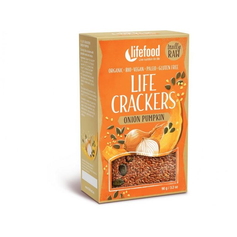 Life crackers cibulové s dýňovým semínkem Lifefood BIO - 90 g